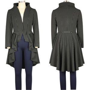Jackets & Blazers - Plus Size Pinstripe Collar Long Tail Jacket Button